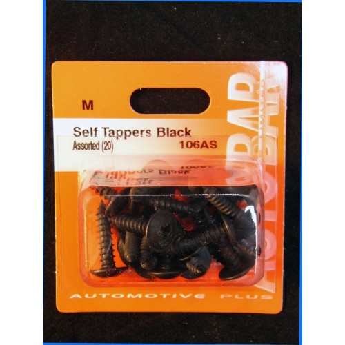 SELF TAPPERS BLACK ASSORTED - 20