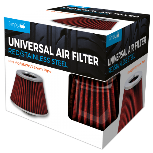 UNIVERSAL AIR FILTER RED GAUZE CHROME TOP