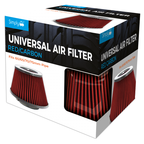 UNIVERSAL AIR FILTER RED GAUZE CARBON TOP