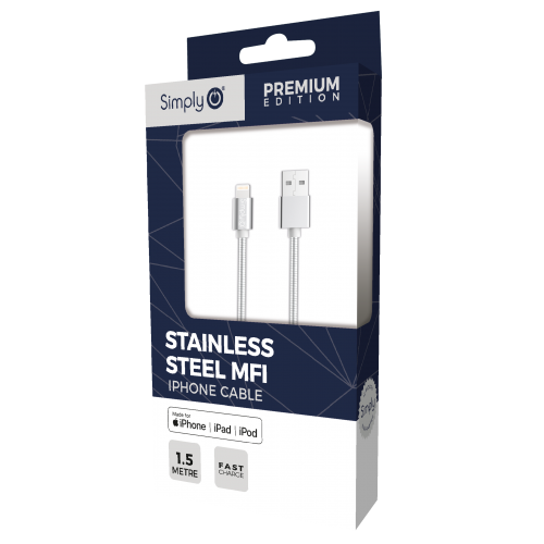 STAINLESS STEEL MFI 1.5M IPHONE CABLE