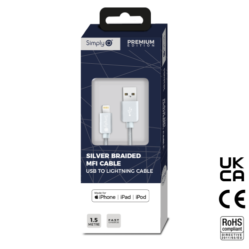 SILVER BRAIDED MFI CABLE