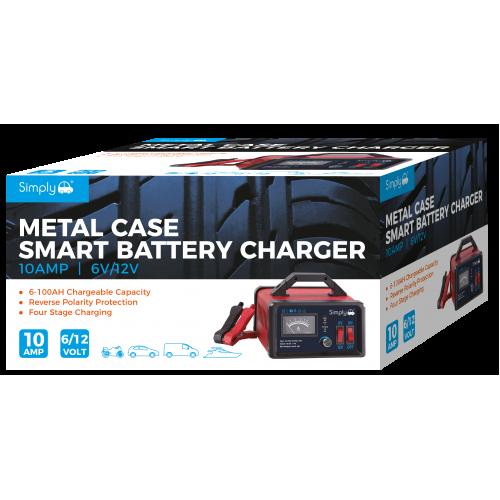 6/12V 10AMP METAL CASED BATTERY CHARGER